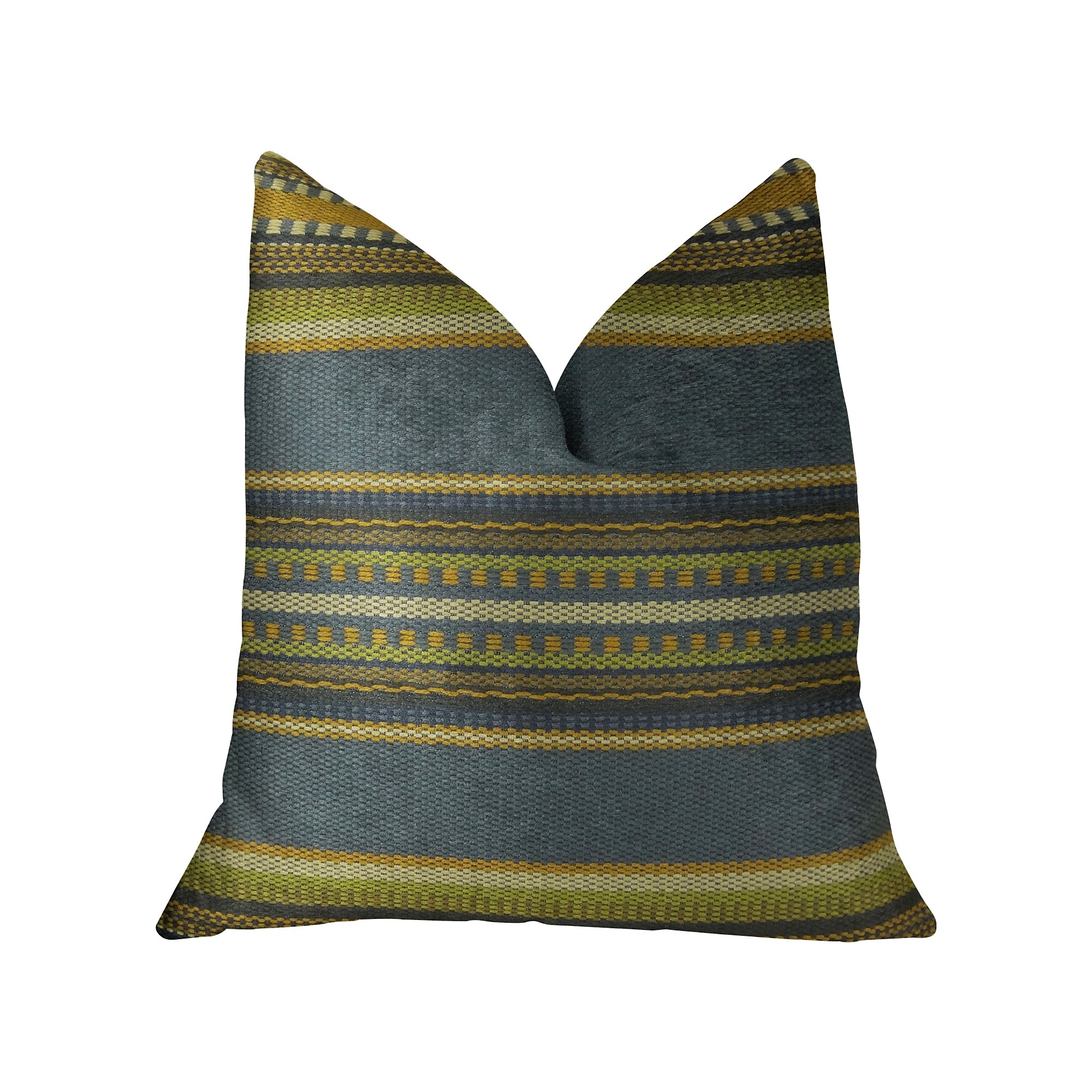 Plutus Chic Stripe Indigo Handmade Pillow, Double Sided