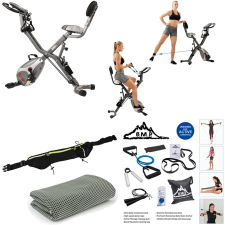 Sunny Health and Fitness Total Body Indoor Exercise Bike Bundle with 7-Piece Fitness Kit, Sports Zippered Waist Bag and Workout Cooling Towel ()