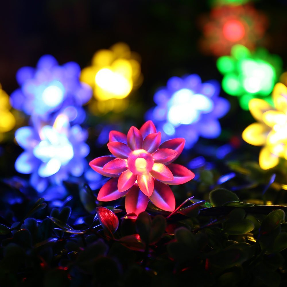 Qedertek LED Christmas Lights Solar String Lights Lotus Flower Solar Fairy Lights for Indoor Home Garden Patio Lawn and Party Decoration (30 LED Multi color)