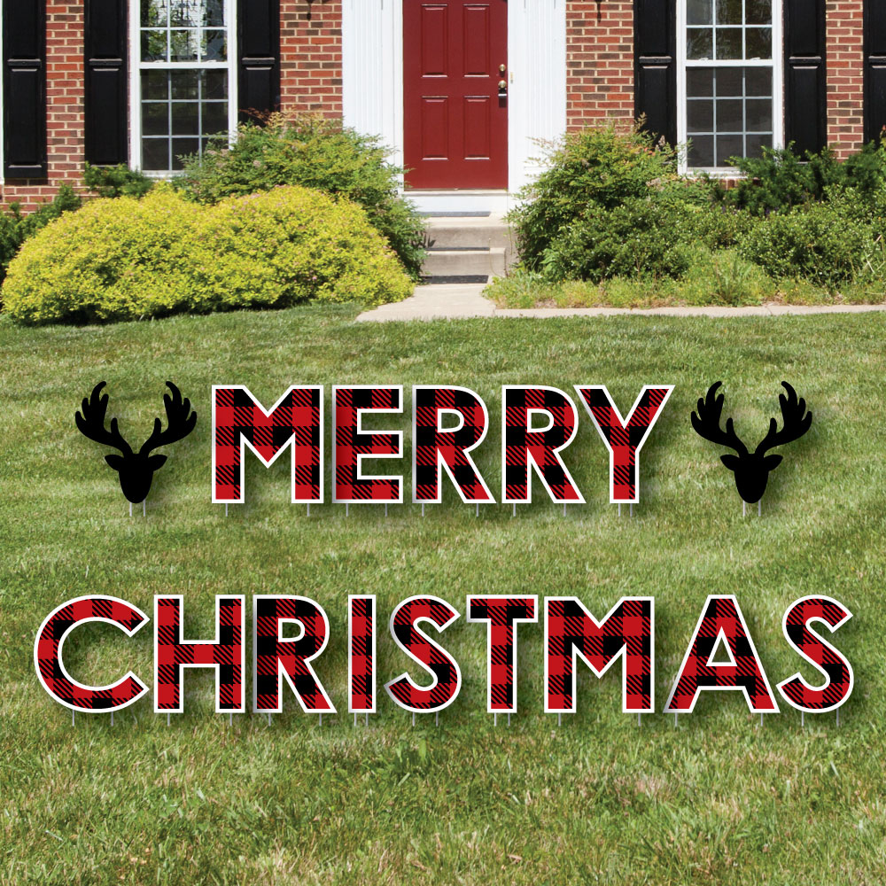 Prancing Plaid - Yard Sign Outdoor Lawn Decorations - Reindeer Holiday and Christmas Party Yard Signs - Merry Christmas