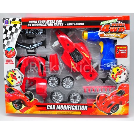 Take A Part Car Playset Race Toy Electric Play Build Drill Construction Racing Set