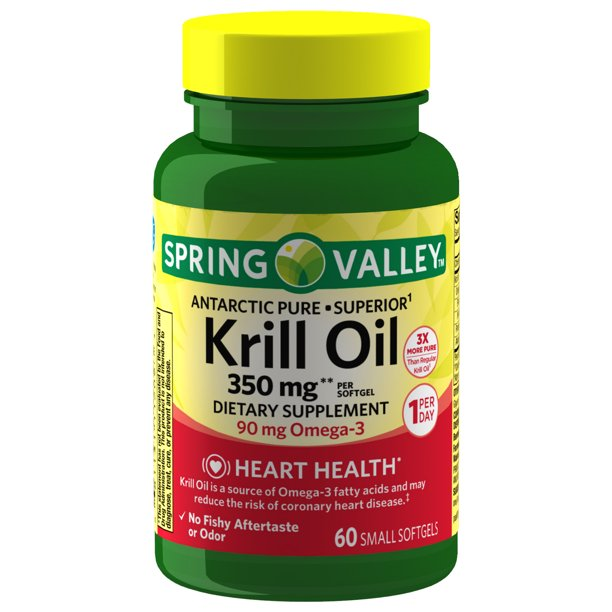 Spring Valley Antarctic Pure Krill Oil Softgels, 1000 mg, 30 Count