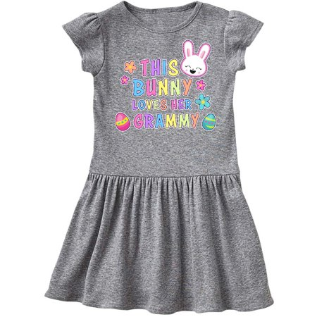 This Bunny Loves Her Grammy with Bunny Face and Flowers Toddler Dress