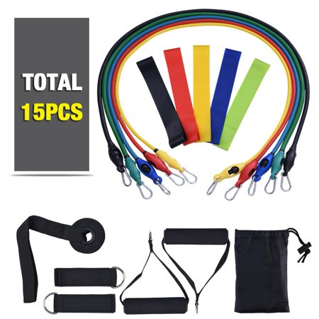 Yosoo15 pcs Resistance Bands Set Workout Bands and Rehab Bands, Heavy Exercise Bands Fitness Bands with Door Anchor, Ankle Strap, Resistance Loop Bands for Gymnastics