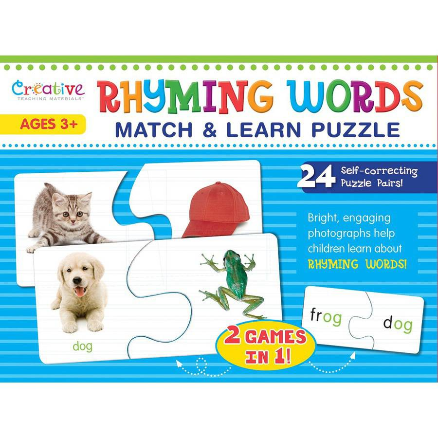 Creative Teaching Materials Match & Learn Puzzle-Rhyming Words 24/