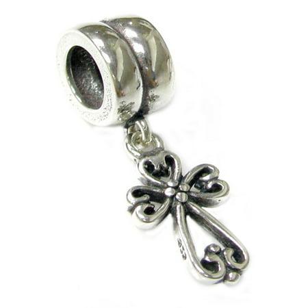 Queenberry Sterling Silver Filigree Heart Cross Dangle Bead Charm For European Charm Bracelets Sterling Silver Filigree Heart Charm