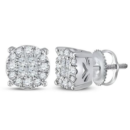14k White Gold Princess Round Diamond Cluster Screwback Stud Unisex Mens Womens Earrings (.50 cttw.)