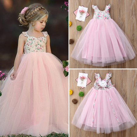 Flower Girls Princess Dress Kids Baby Party Wedding Pageant Lace Tutu Dresses 1-2 Years