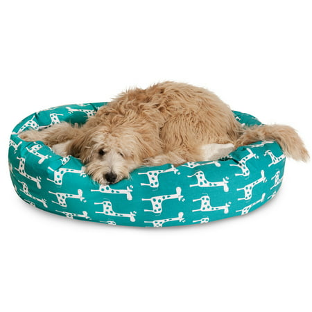 "Majestic Pet Stretch Sherpa Bagel Dog Bed Machine Washable Turquoise Extra Large 52"" x 35"" x 11"""