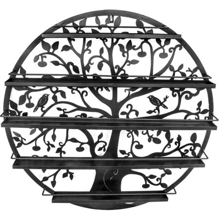 Sorbus Wall Mounted 5 Tier Nail Polish Rack Holder, Tree Silhouette Black Round Metal Salon Wall Art Display ()