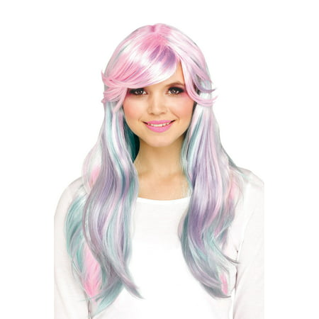 Pastel Rainbow Wig (Fantasy Unicorn Adult Wig)