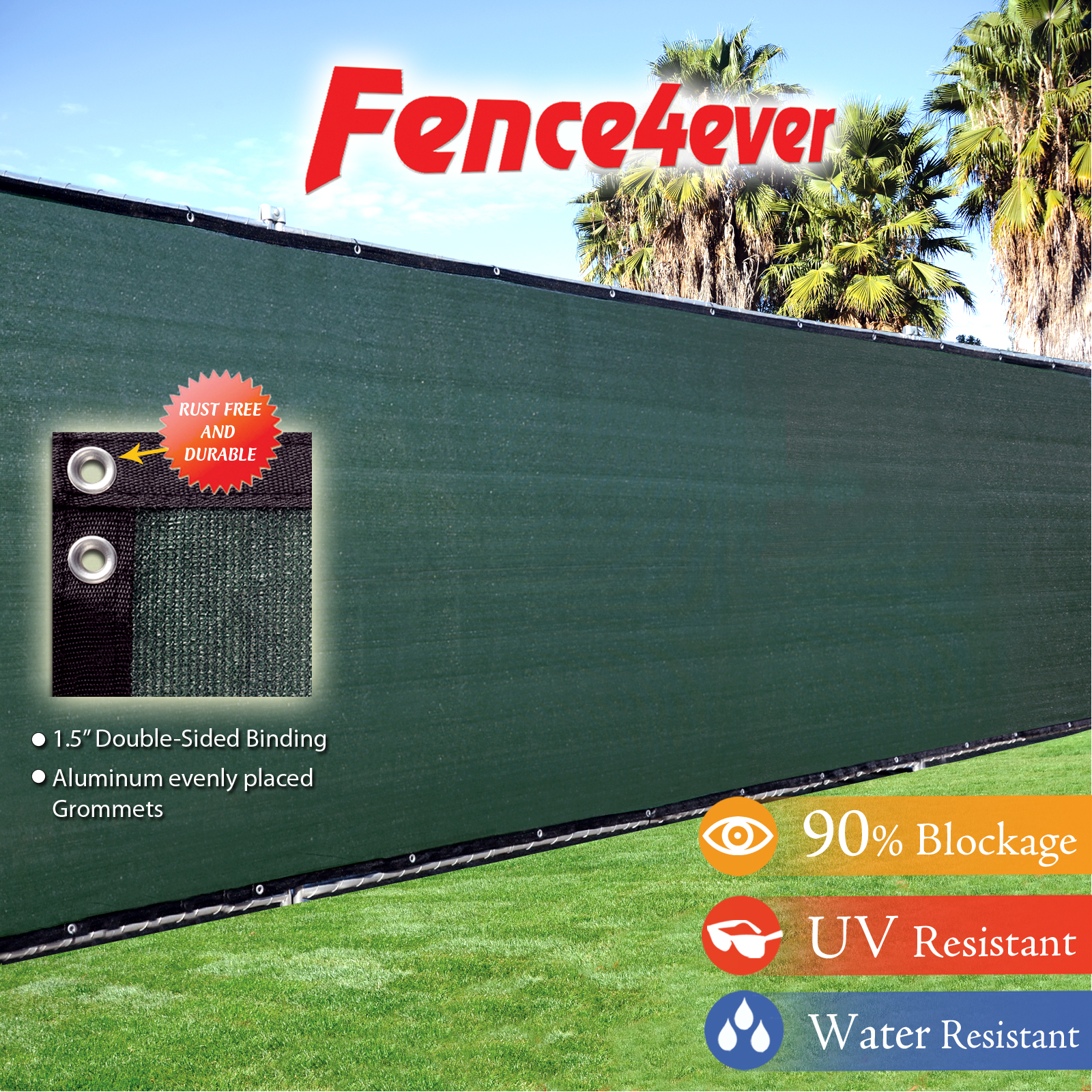 Fence4ever Dark Green 4'x50' Fence Privacy Screen Windscreen Shade Cover Mesh Fabric Tarp