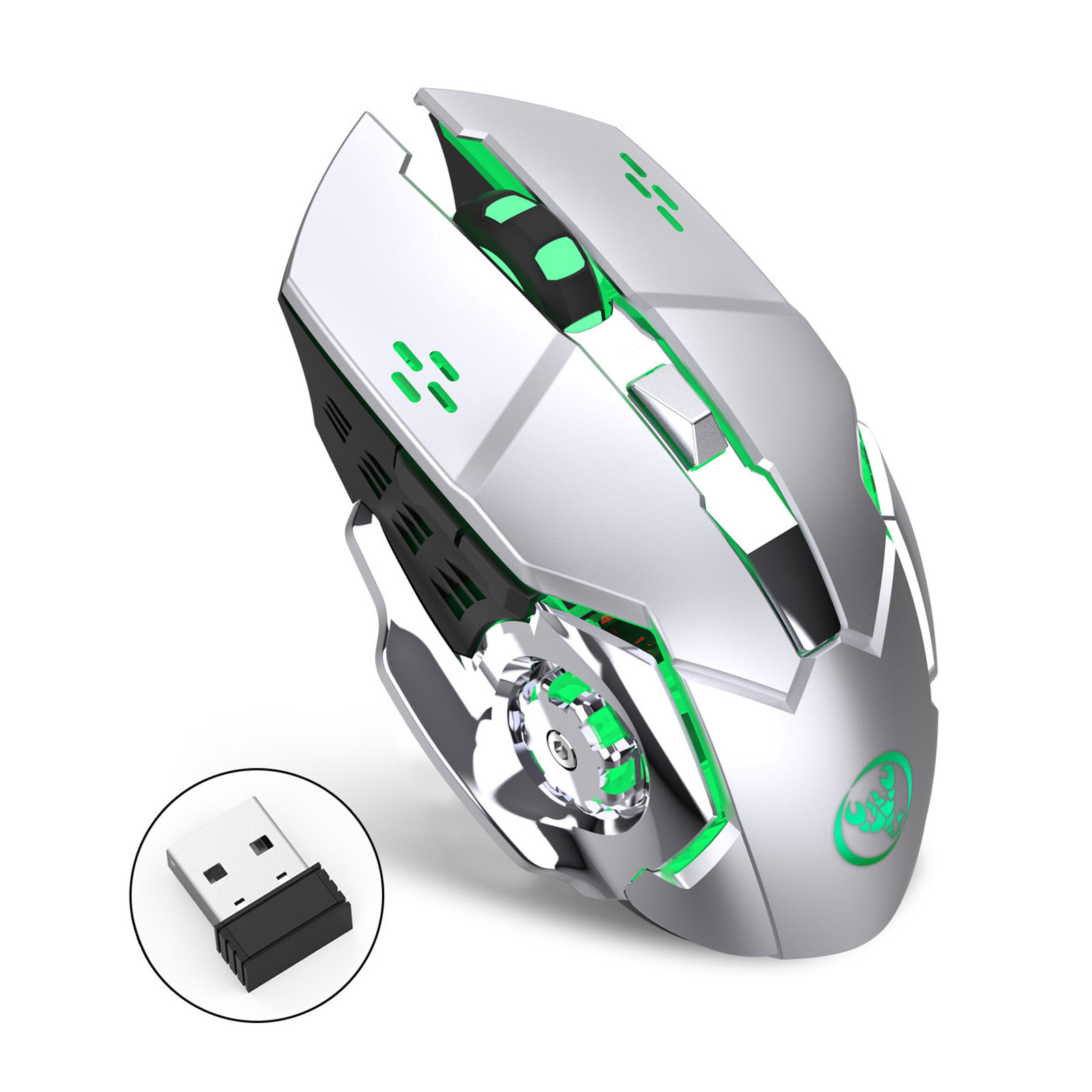 Wireless Optical Laptop Gaming Mouse Rechargeable Game Mice with USB Receiver, Color Changing, Rechargeable with 4 Adjustable CPI Levels for PC Laptop Computer Macbook  Gaming Players