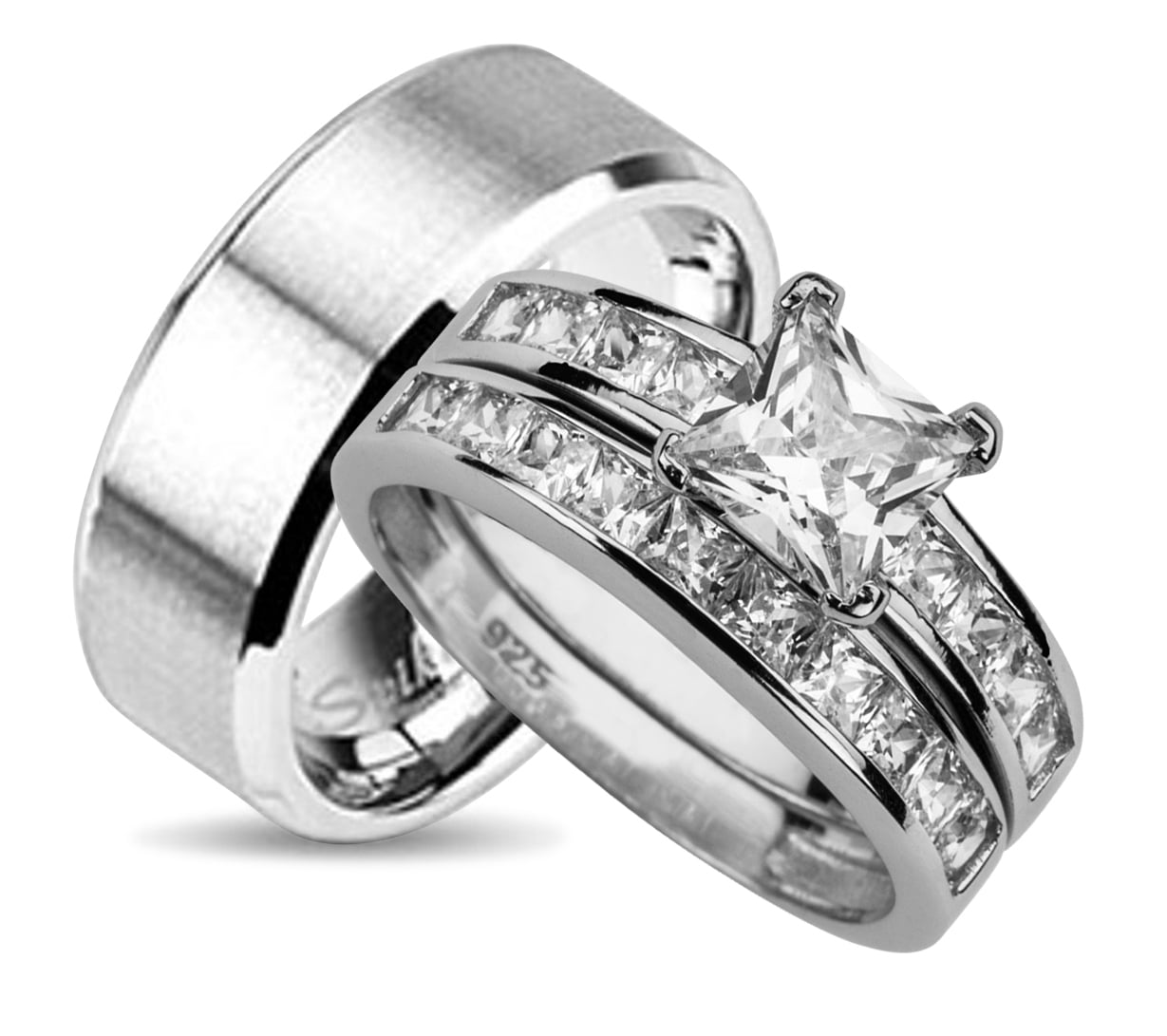 His And Hers Wedding Ring Set Matching Bands For Him Her 9 12 Choose Sizes