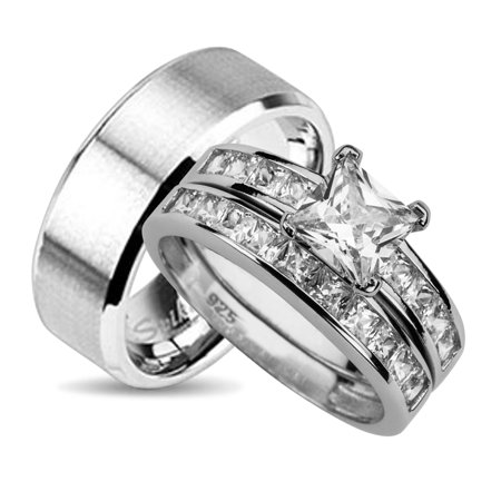 His And Hers Wedding Ring Set Matching Wedding Bands For Him And Her 9 12
