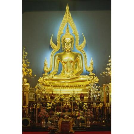 Statue of Buddha, Marble Temple (Wat Bo Bentchama Bitr), Bangkok, Thailand, 19th Century Print Wall Art (Marble Temple)