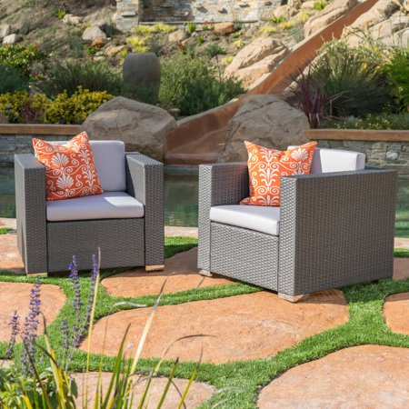 Murano Gray Patio Wicker Club Chair with Water Resistant Fabric Cushions - Set of 2