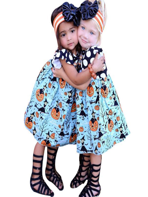 Mosunx Toddler Kids Baby Girls Halloween Pumpkin Cartoon Princess Dress Outfits Clothes