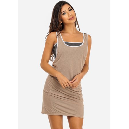 3a390c12048 ModaXpressOnline - Womens Juniors Casual Sleeveless Two Tone Layered ...