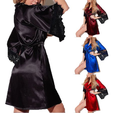 Sexy Women Satin Lace Robe bridesmaid bride Short Satin Wedding Kimono Sleepwear