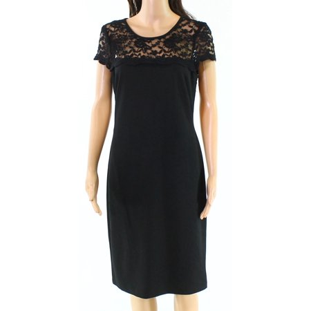 Connected Apparel NEW Black Womens Size 6 Lace Seamed Shift Dress