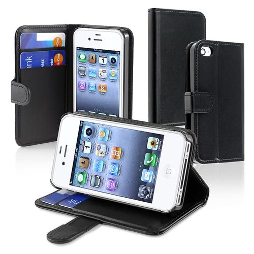 Insten Wallet Leather Case For Apple iPhone 4 / 4S AT&T / Verizon, Black