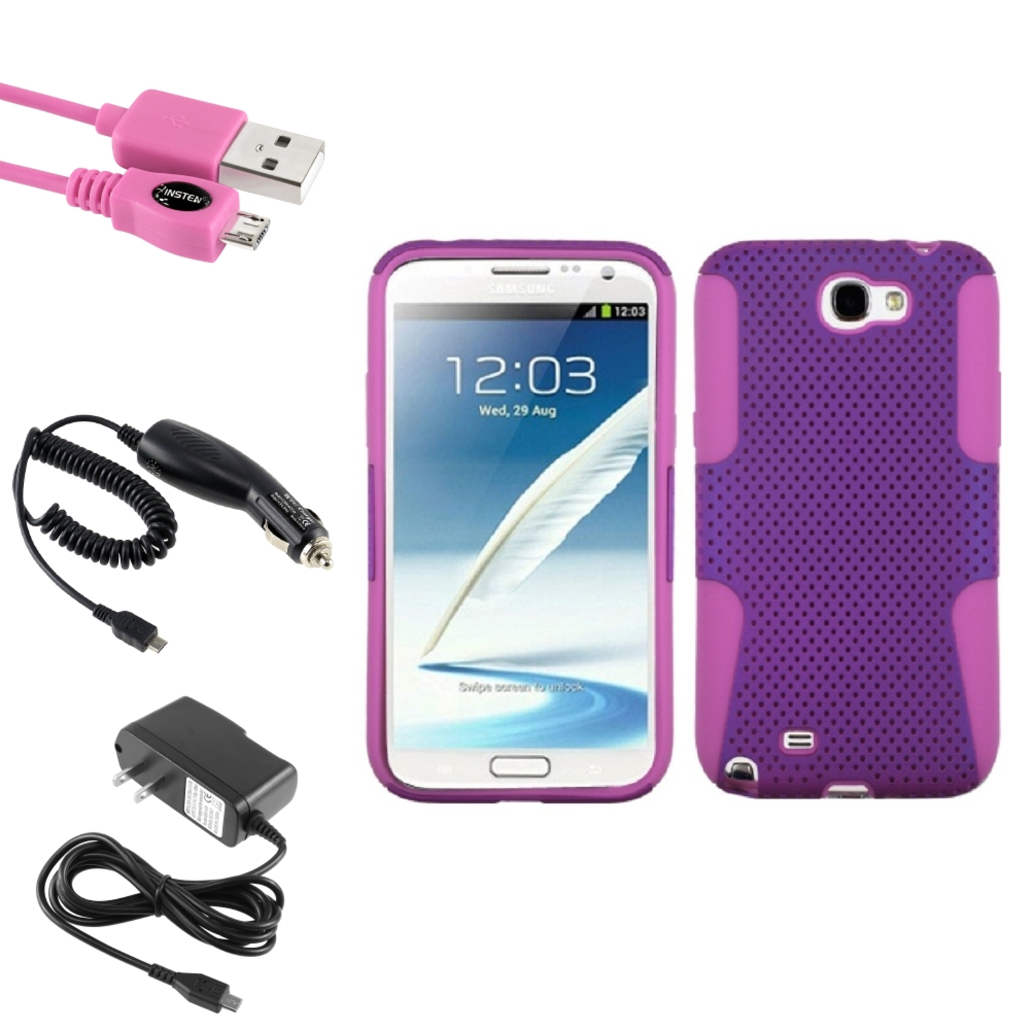 Insten Pink/Purple Hybrid Case Car Wall Charger 3X USB Cable For Samsung Galaxy Note 2