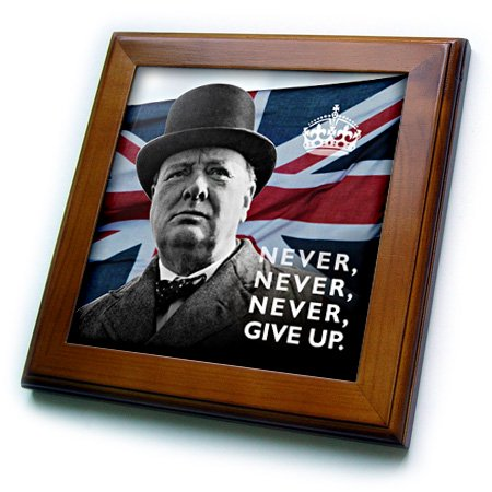 Winston Churchill Portrait (3dRose Winston Churchill- Never Give Up Quotation over Union Jack Background - Framed Tile, 6 by 6-inch)