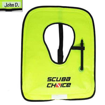Scuba Choice Adult Neon Yellow Snorkel Vest with Name box, -