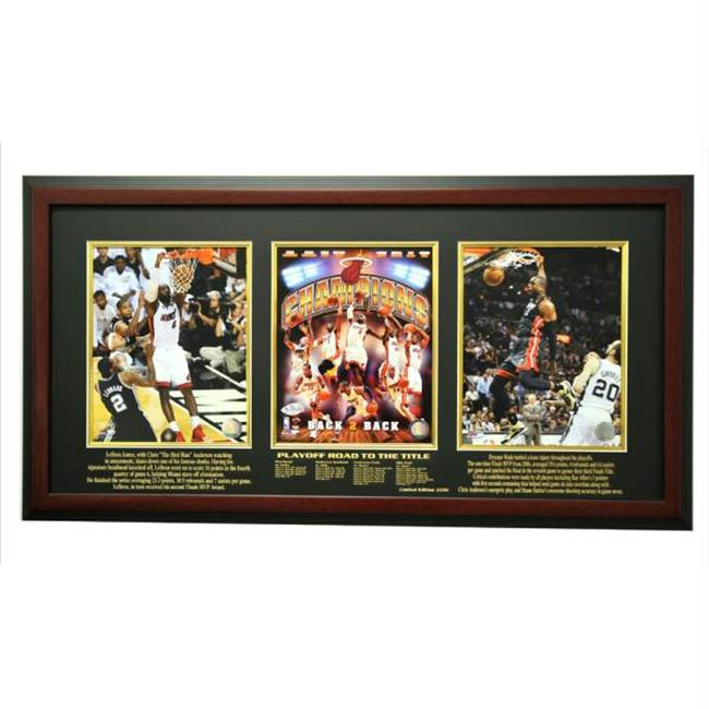 Caseworks International CAS-BB-TFR-MIA13-M 2012-2013 Miami Heat Champions Limited Edition Triple 8x10 Frame, Mahogany