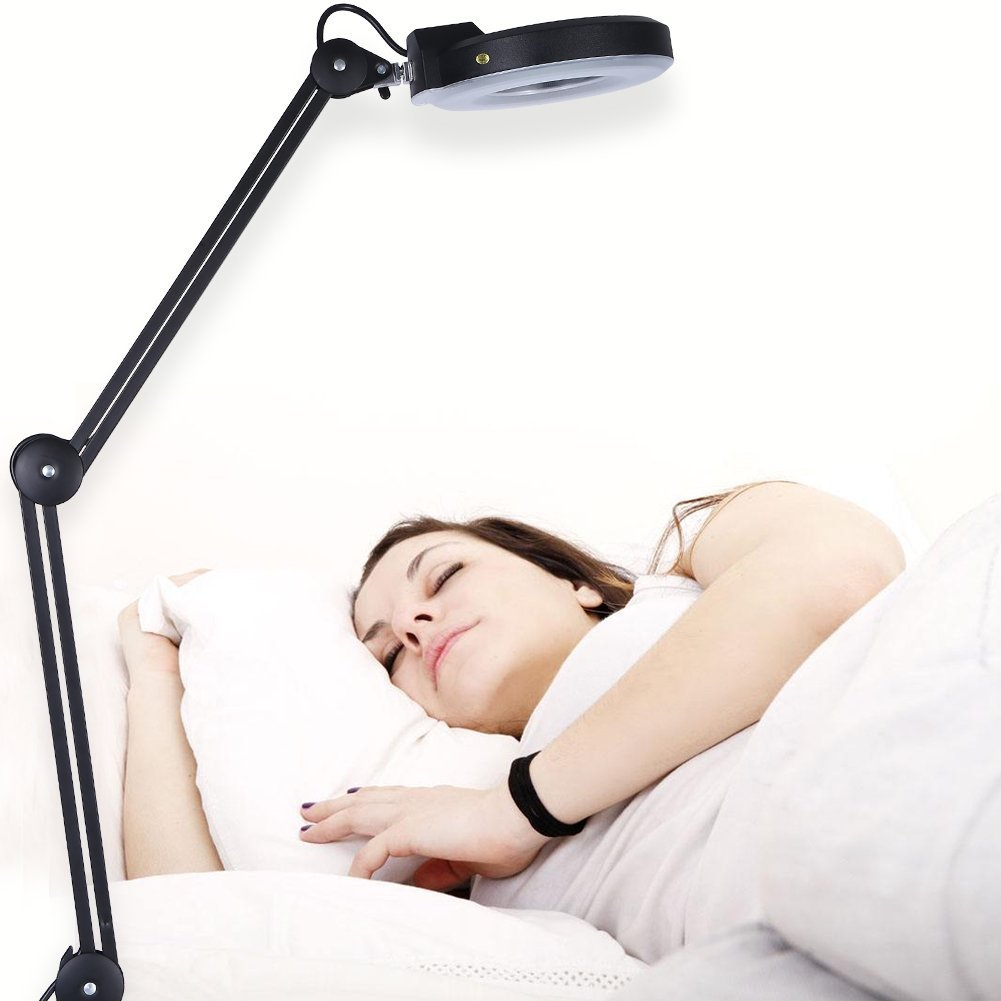 YOSOO 5xMagnifying 110V LED Lighted Beauty Cosmetic Tattoo Desk Magnifier Light Lamp With Clamp Black