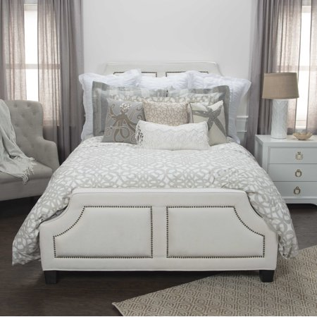 Rizzy Home Cotton 114u0022x98u0022 Taupe Geometric Bedding