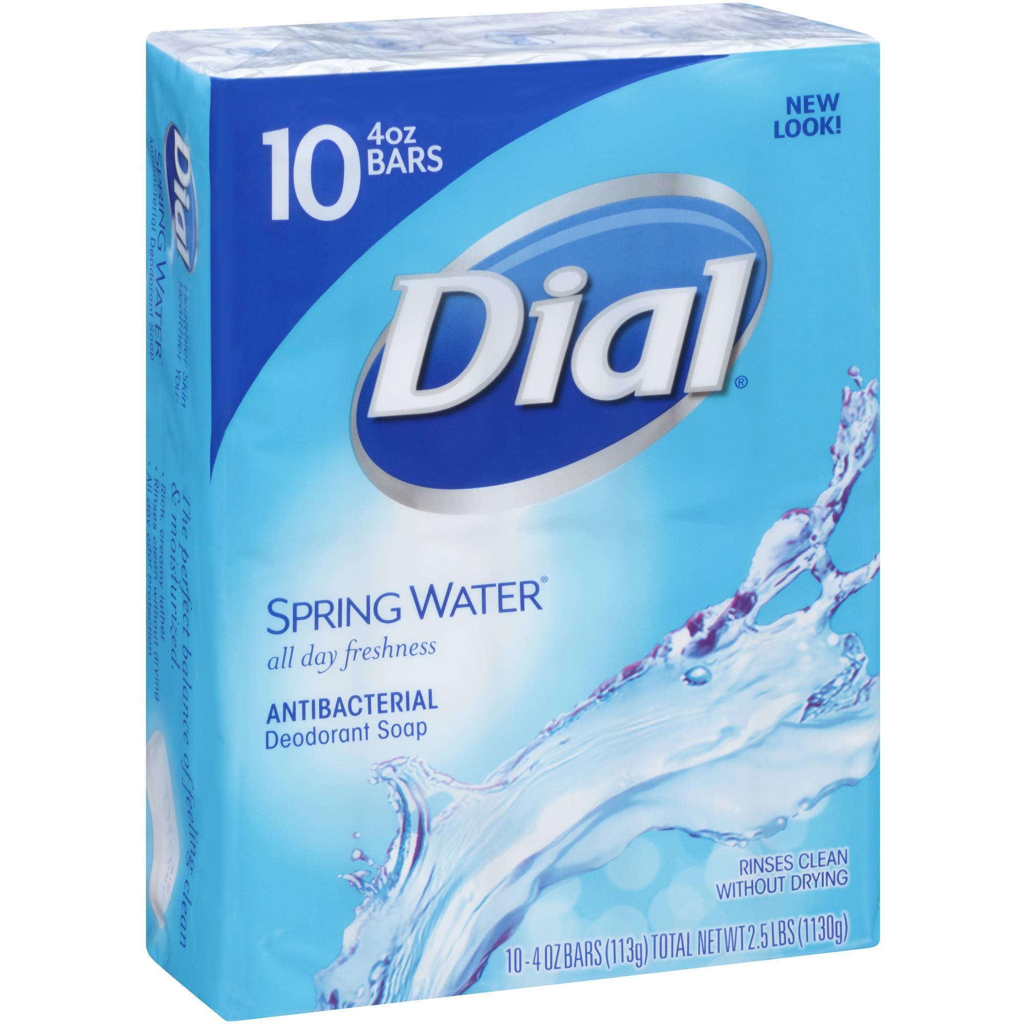 Dial Spring Water Antibacterial Deodorant Soap, 4 oz, 10 count