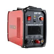 SUNCOO 50 Amp Non-Touch Pilot Arc Plasma Cutter DC Inverter Metal Cutting Machine, Automatic Dual Voltage 110/220V Red