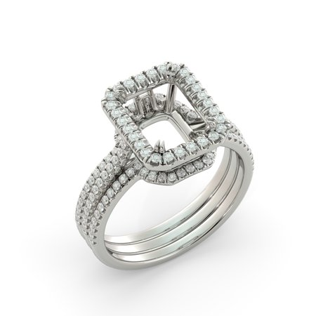 Emerald Semi Mount Ring - Emerald Bridal Set Semi Mount w 2 Bands Engagement Ring Diamond 18k White Gold