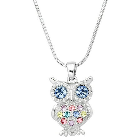 Owl Pendant Necklace Rhinestone Crystal Rhodium High Polished J0256-MT2