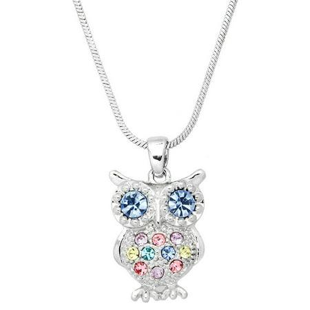 Owl Pendant Necklace Rhinestone Crystal Rhodium High Polished -