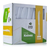 Comfy Package [300 Pack] Heavyweight Disposable Clear Plastic Knives