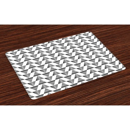 black and white placemats set of 4 striped triangles up and down in scribble style ethnic boho. Black Bedroom Furniture Sets. Home Design Ideas