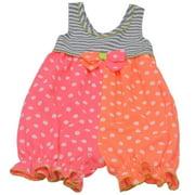 Baby Girls Pink Orange Dot Pattern Bow Accent Stripe Romper 3M