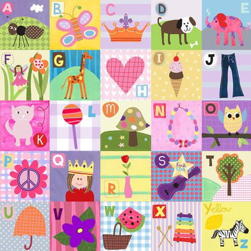 Oopsy Daisy Too's My ABC's Girl(Pastel) Canvas Wall Art, 21x21
