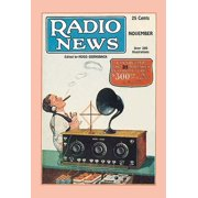 Man sits back wearing head phones and puffs cigar while listening to his radio with external speaker and new fangled dials  Cover to the November 1925 issue of Radio news   Hugo Gernsbacks Radio News