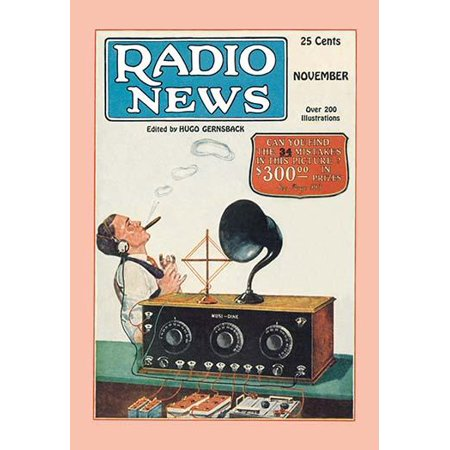 Man sits back wearing head phones and puffs cigar while listening to his radio with external speaker and new fangled dials  Cover to the November 1925 issue of Radio news   Hugo Gernsbacks Radio News (Cigar Puff)