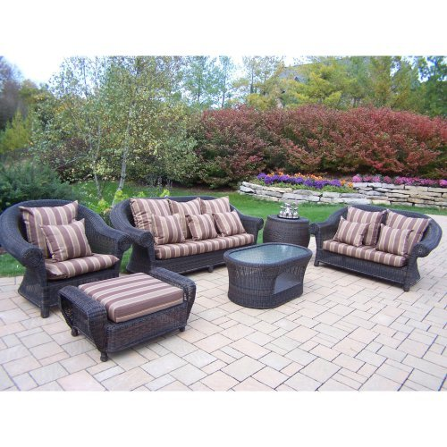 Oakland Living Cambridge Wicker Conversation Set with Double Pillows