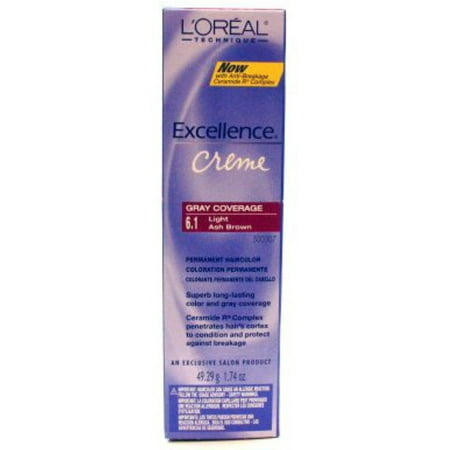 L'Oreal Excellence Creme Permanent Hair Color, Light Ash Brown #6.1, 1.74