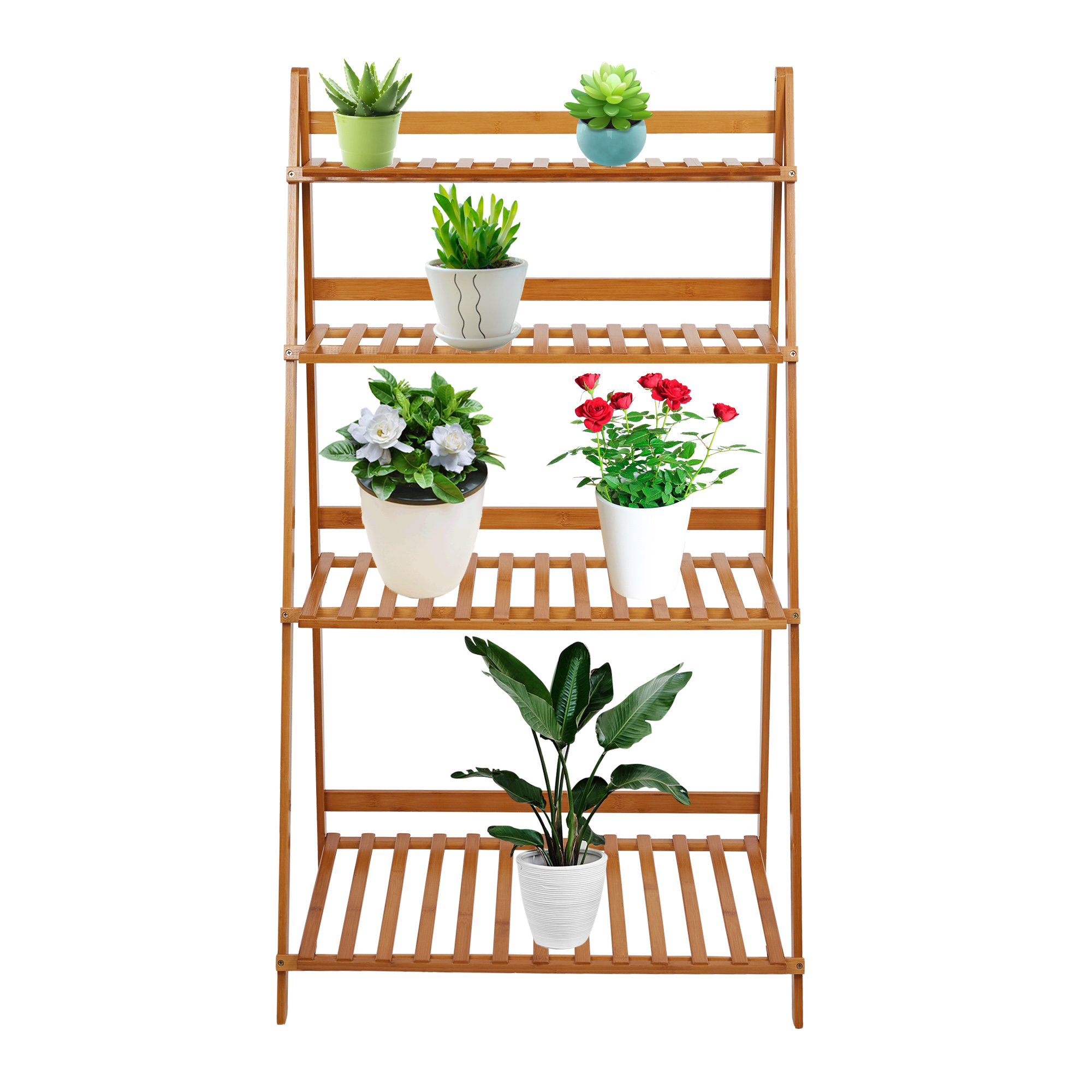 Nice KARMAS PRODUCT 4 Tiered Plant Stand Bamboo Folding Ladder Potted Holder  Display Shelving Indoor Flower Organizer
