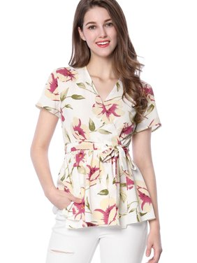 7516339fda2c Product Image Unique Bargains Women s Crossover V-neck Floral Print Self-tie  Waist Wrap Peplum Top