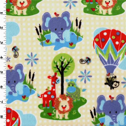 Multi Zoo Animal Minky, Fabric By the Yard