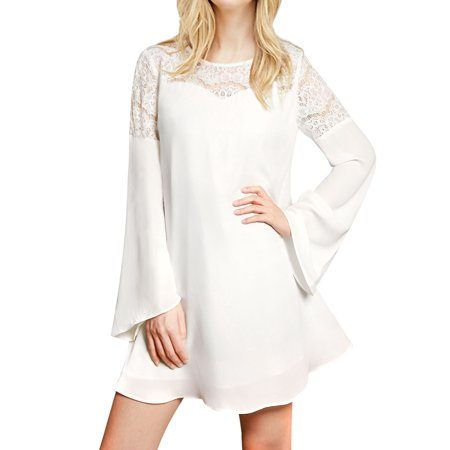 White Tunic Dress - Women's Lace Panel Bell Sleeves Round Neck Tunic Dress White