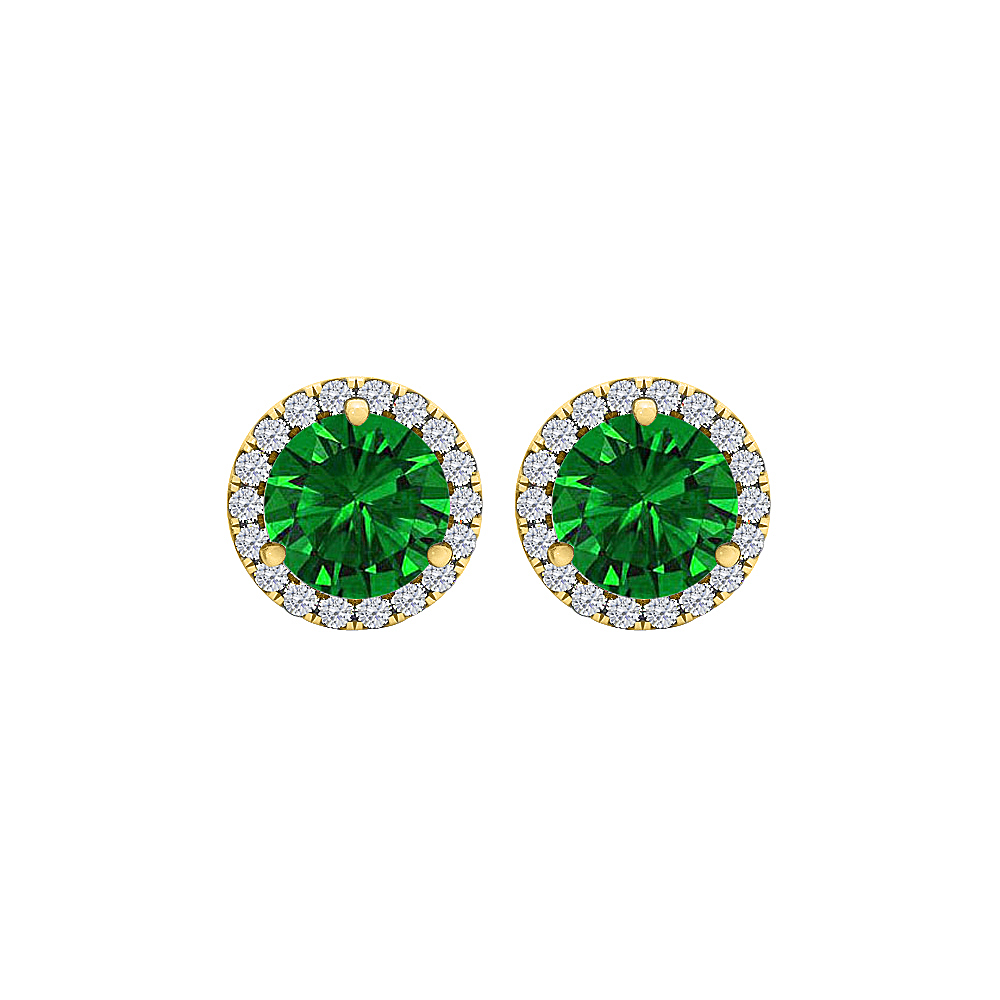 CZ and Emerald Round Halo Stud Earrings Gold Vermeil - image 2 of 2